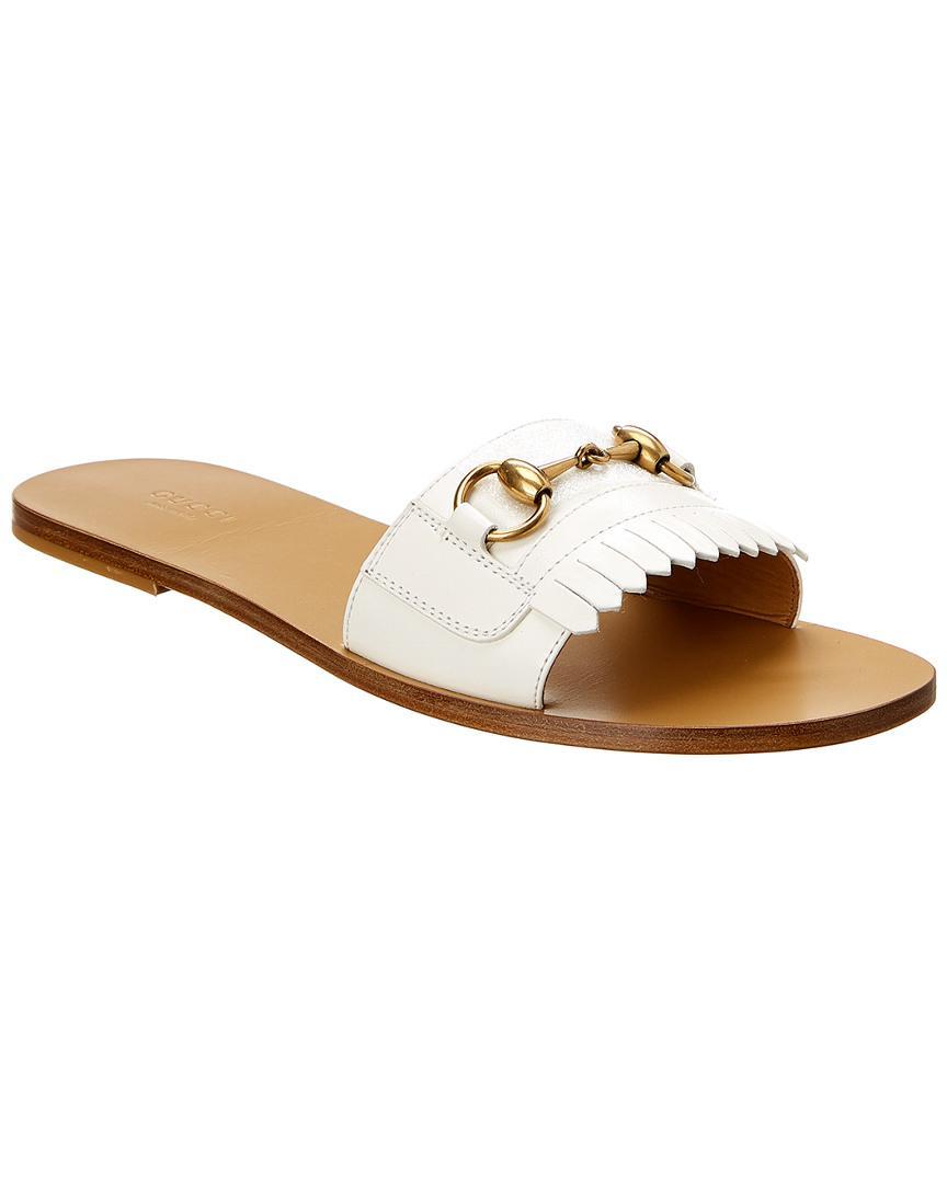 38013286b Gucci Leather Fringe Horsebit Slide Sandal in White - Save 31% - Lyst