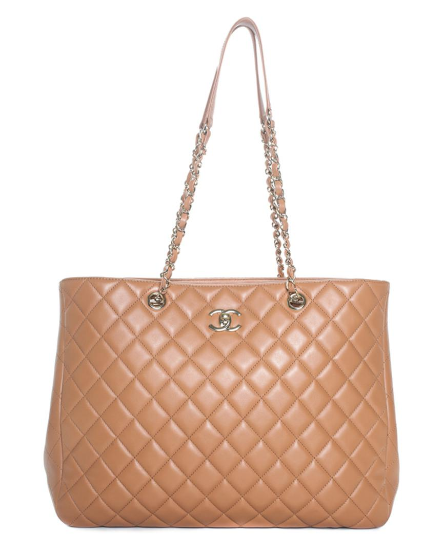 Chanel Women S Natural Beige Quilted Leather Turnlock Tote