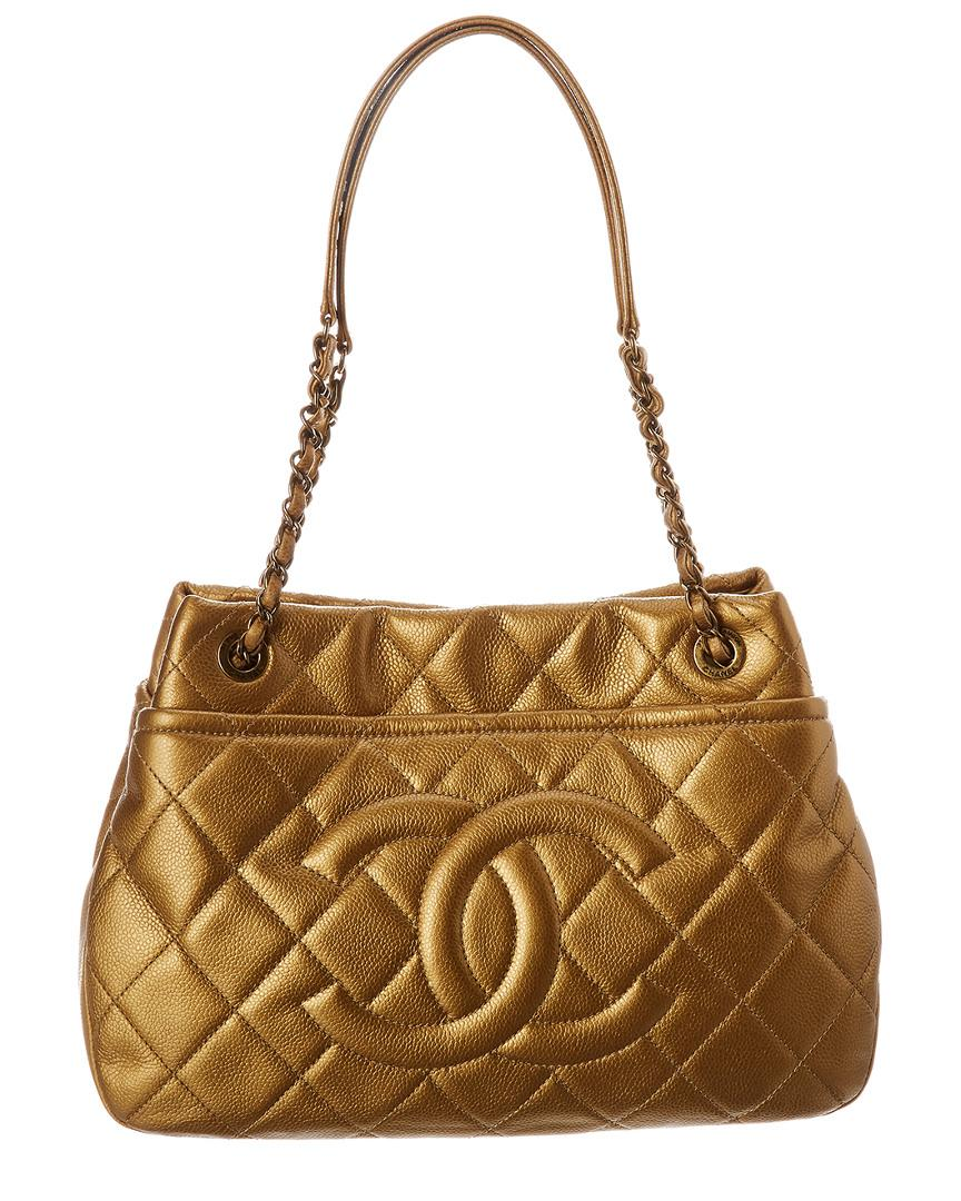 c625529ea21f0e Chanel. Women's Metallic Gold Quilted Caviar Leather Timeless Cc Pocket Tote