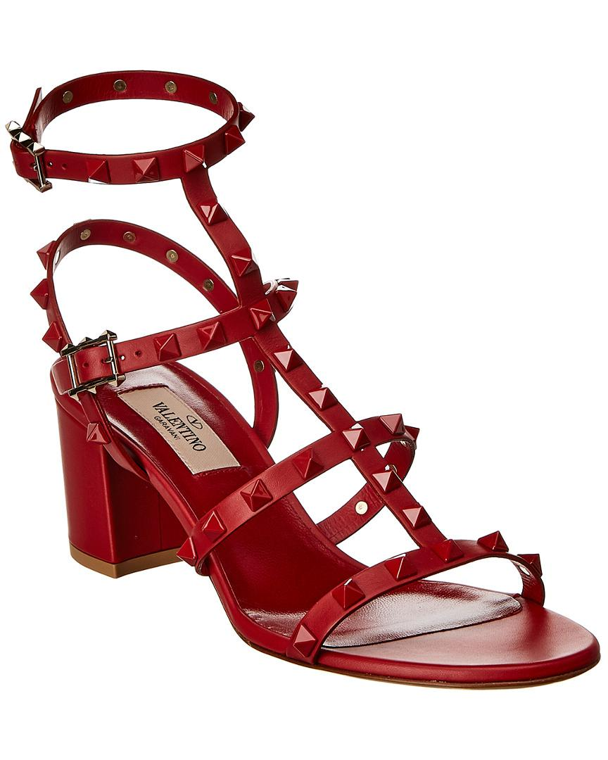 abe7e92480e8 Lyst - Valentino Lacquer Cage 60 Rockstud Leather Sandal in Red