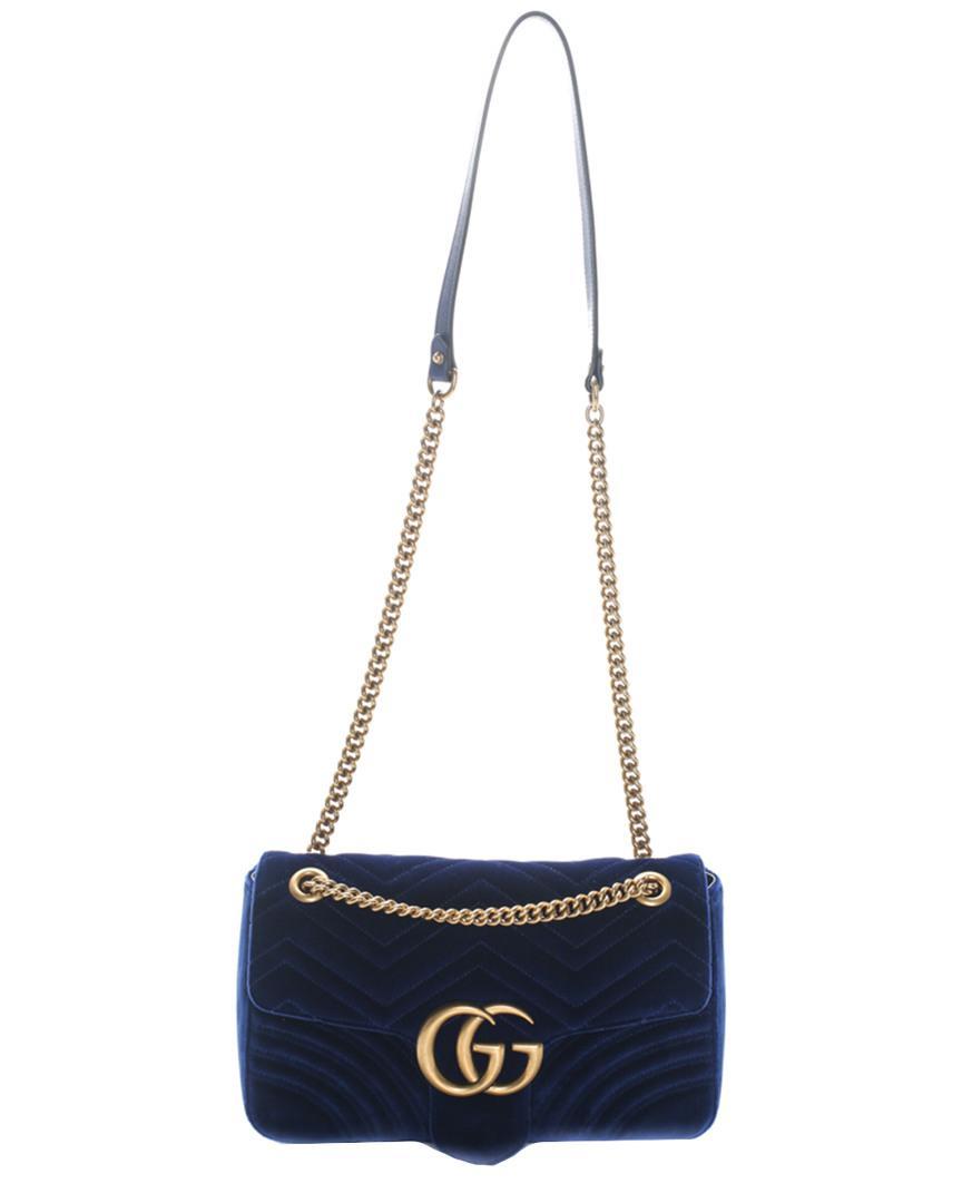 7c7c6e14524f Gucci Blue Vegan-friendly Suede 2018 Gg Marmont Medium Shoulder Bag ...