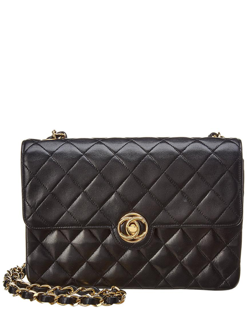 c87c2fe75d8e6a Lyst Chanel Black Quilted Lambskin Leather Small Circle Lock Bag