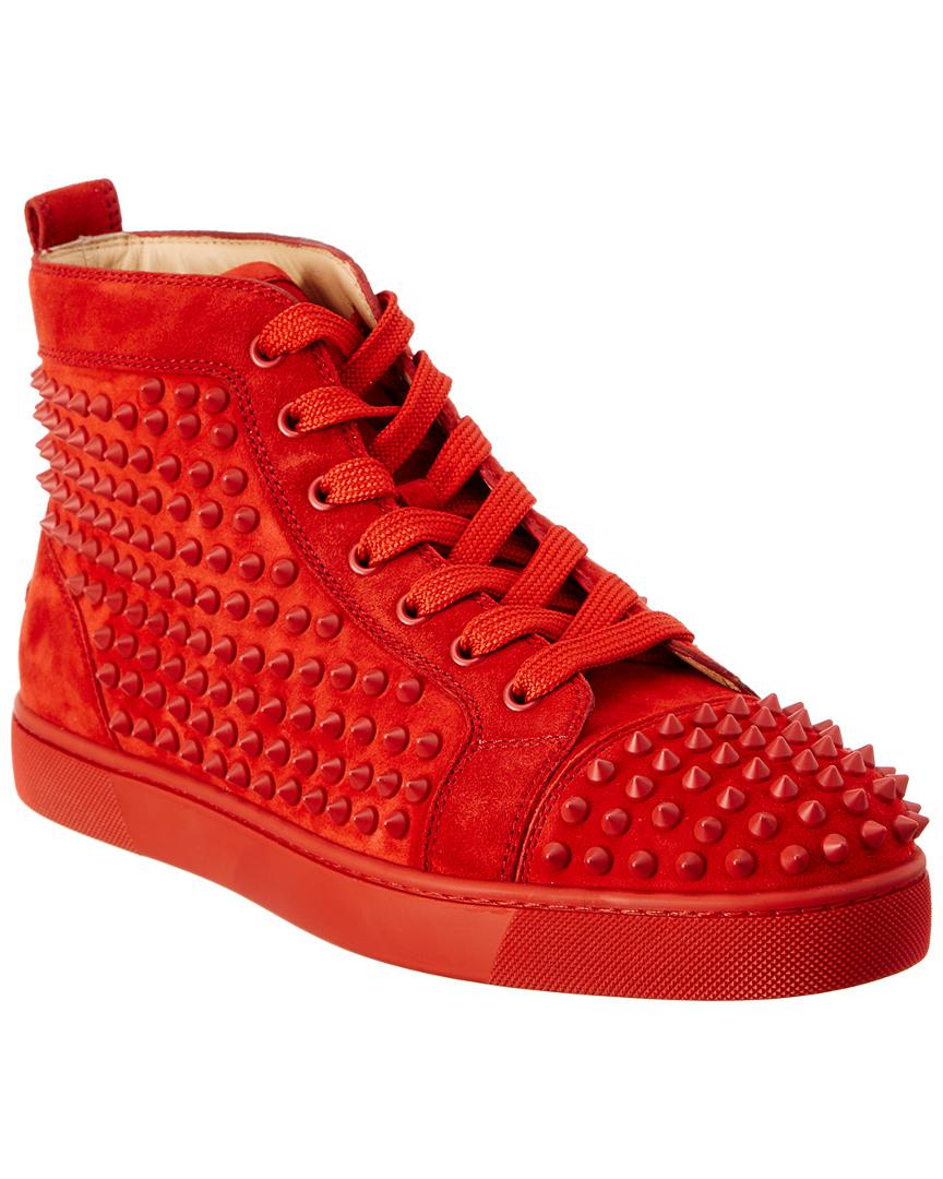 3ccd9e8fba1 Lyst - Christian Louboutin Louis Spike Suede High Top Sneaker in Red ...