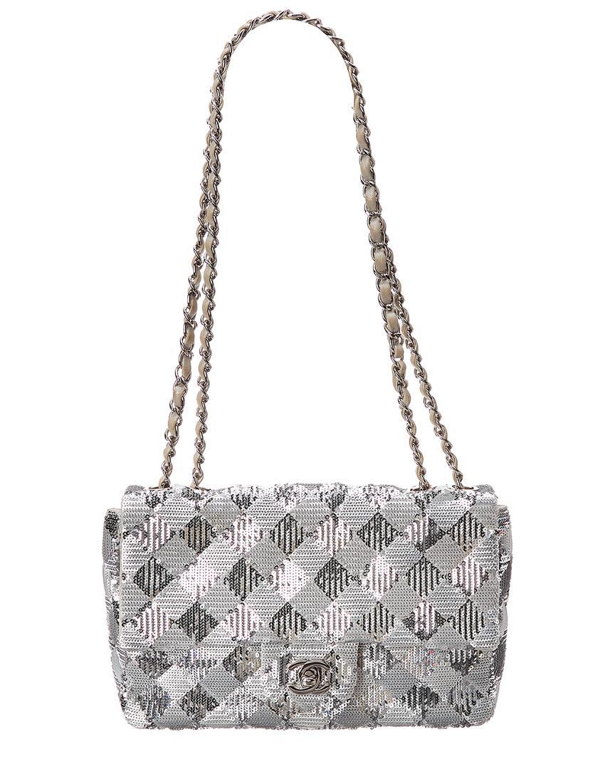 2cf8605b2d2d Chanel. Women s Metallic Limited Edition Silver Sequins Small Half Flap Bag