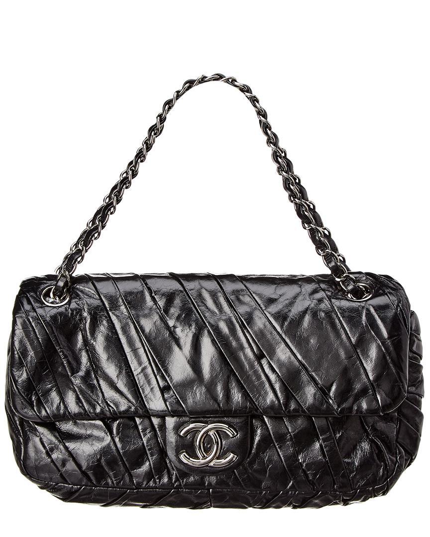 ac1d277d286 Lyst - Chanel Black Lambskin Leather Medium Twisted Flap Bag in Black