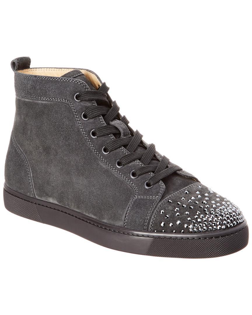 c47987bda4ee Lyst - Christian Louboutin Lou Degra Suede High Top Sneaker in Gray ...