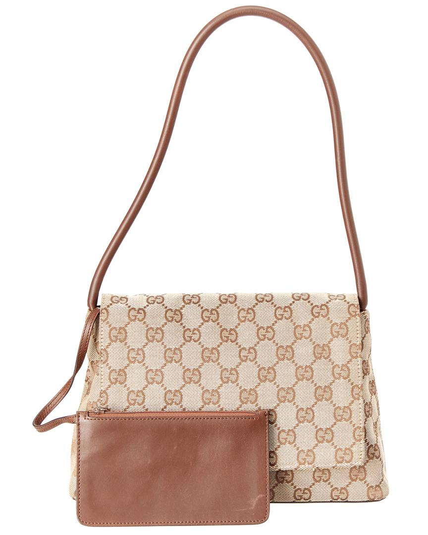 8f5d74ffab8 Lyst - Gucci Brown Leather Gg Monogram Canvas Pochette Flap Bag in Brown