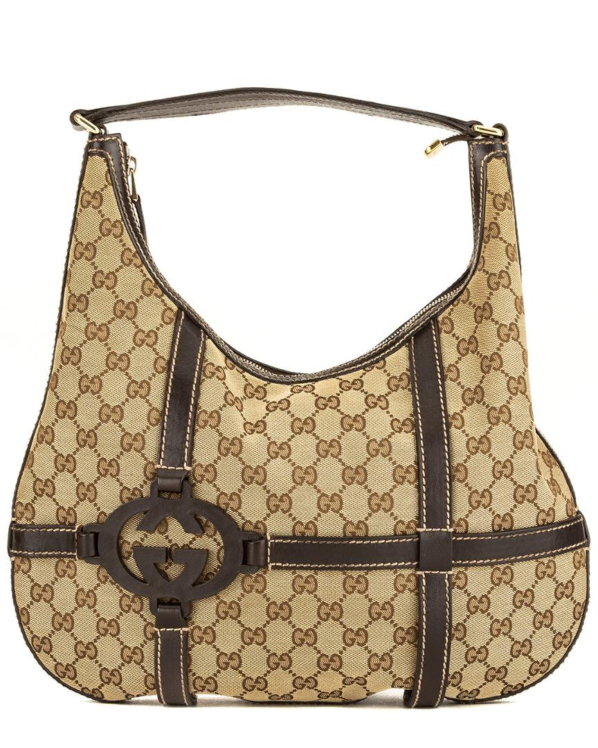 7036e74bbd50 Gucci Brown Gg Supreme Canvas & Leather Hobo Bag in Brown - Lyst