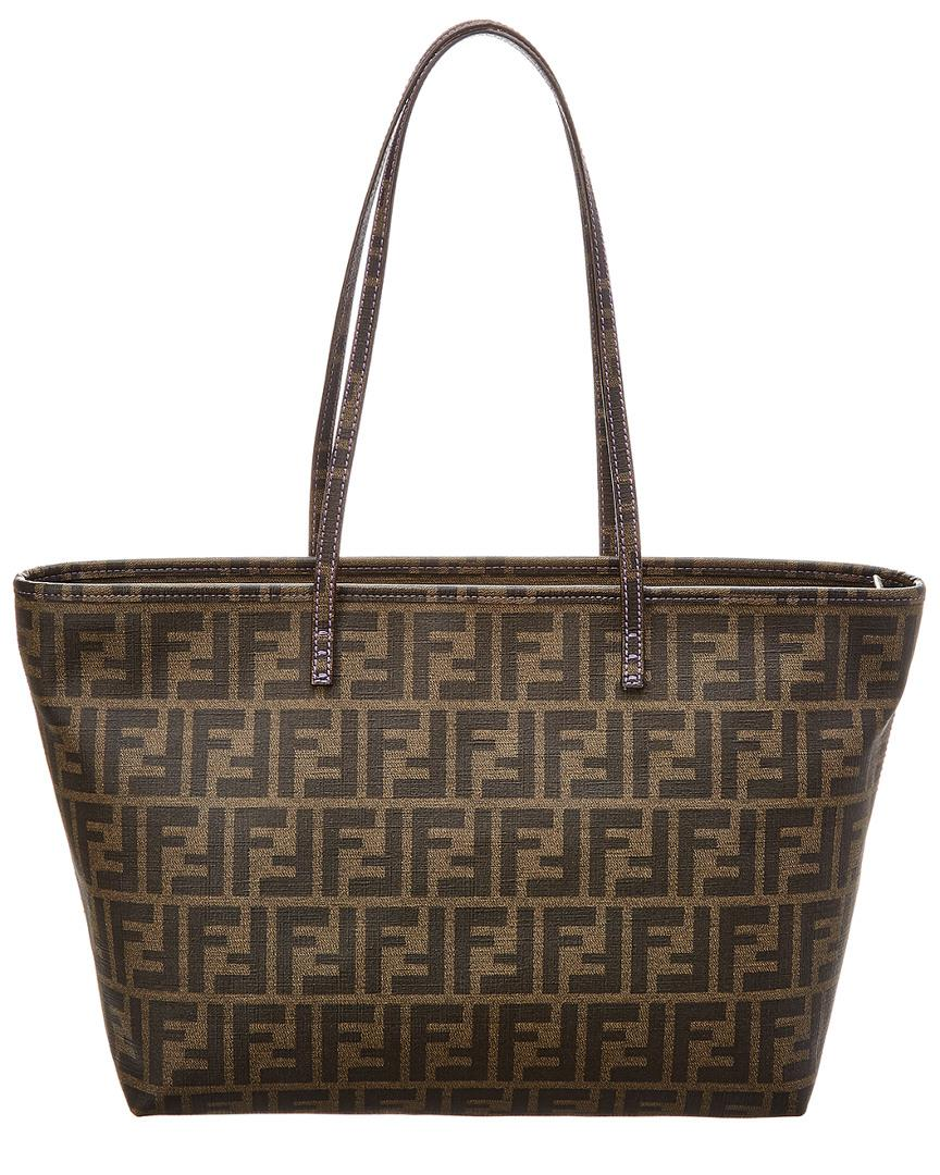 bf8498ed45d Lyst - Fendi Purple Coated Canvas Roll Bag in Brown