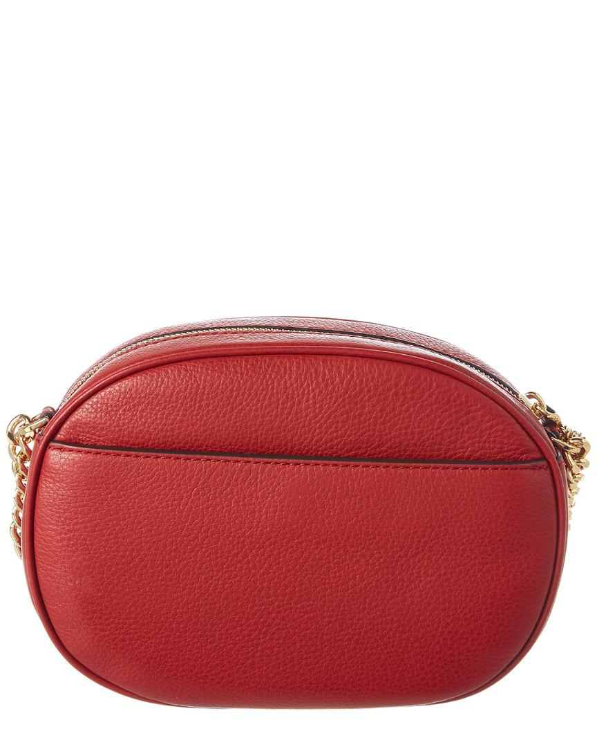9b5312a33a6b Michael Michael Kors Ginny Medium Leather Messenger in Red - Lyst