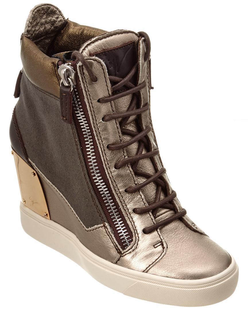 6dacfc64b3f3 Giuseppe Zanotti Lorenz Leather Wedge Sneaker in Brown - Lyst