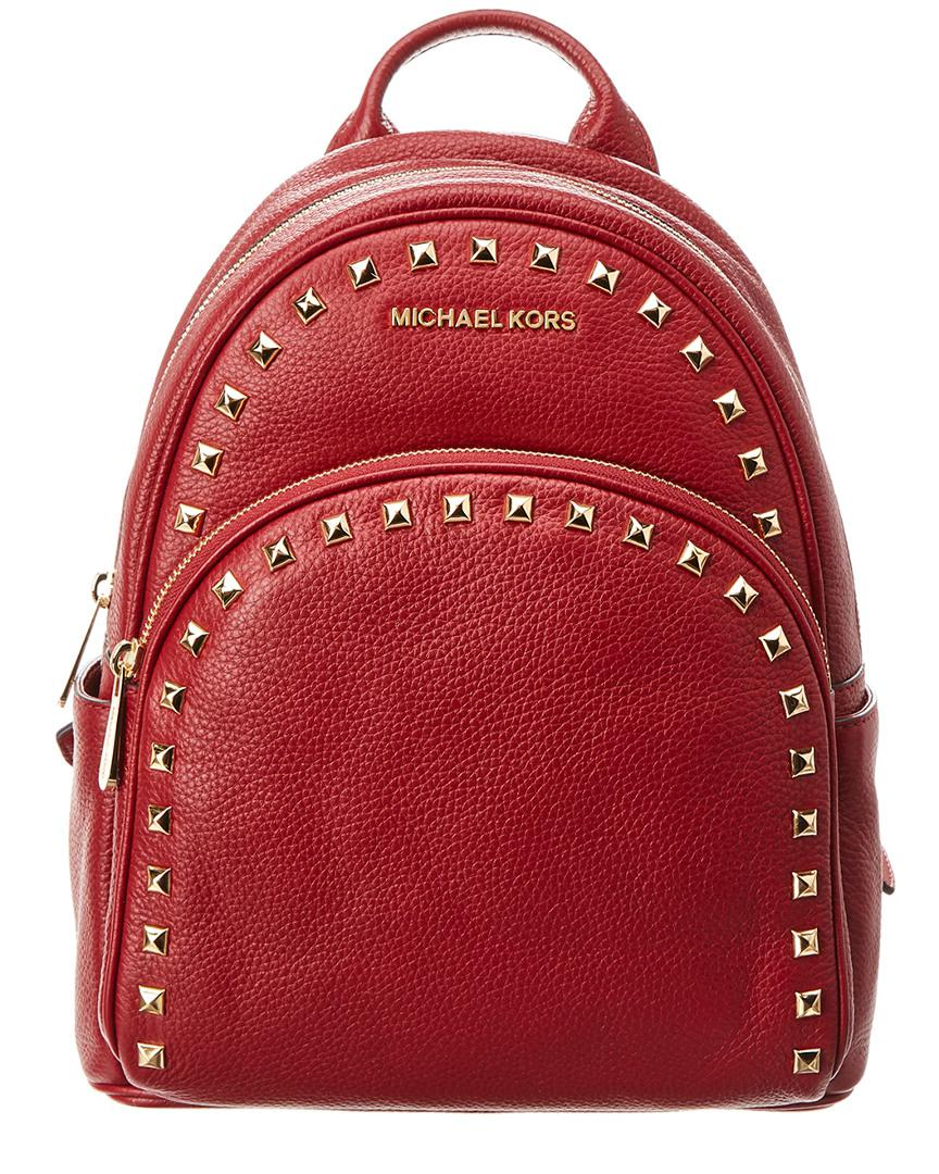 5e5897b82540 MICHAEL Michael Kors. Women's Red Michael Kors Abbey Medium Frame Out  Studded Leather Backpack