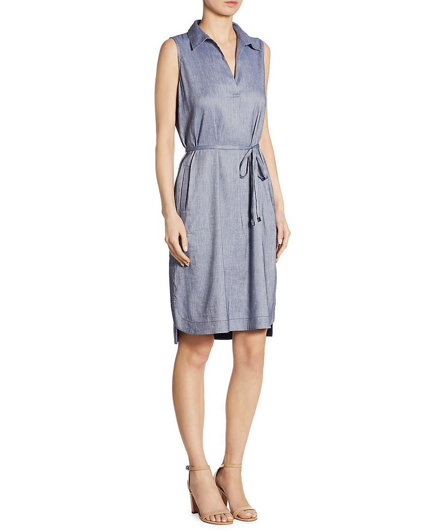e6acb2d426c Lyst - Lafayette 148 New York Robinson Belted Sleeveless Dress in ...
