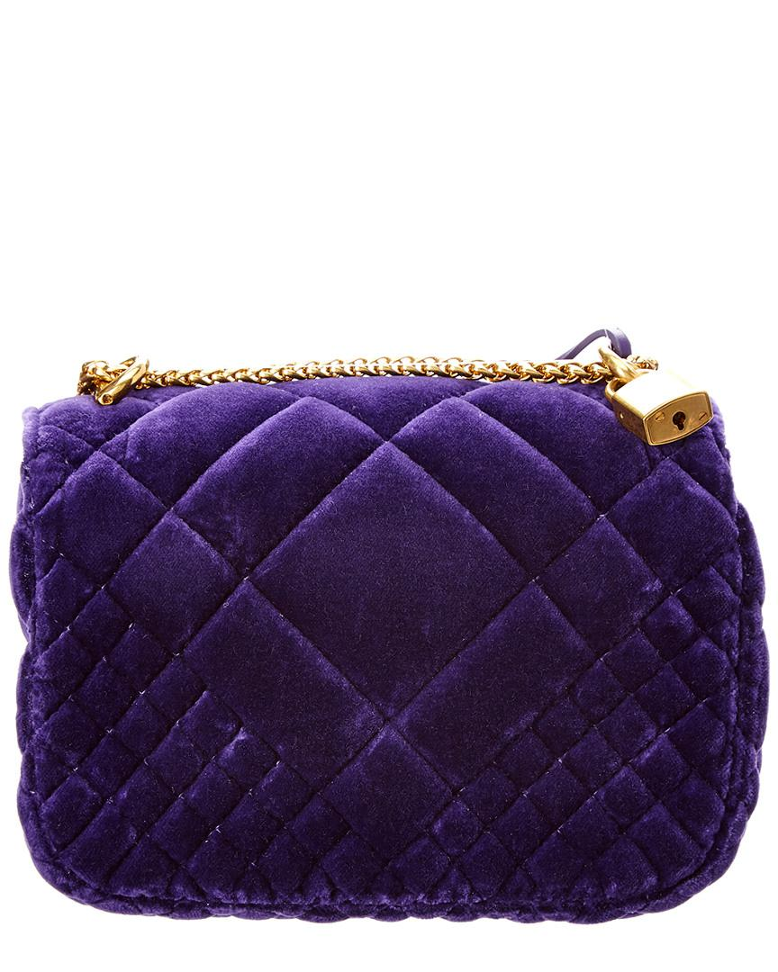 b93d64f6a1255 Versace Small Icon Shoulder Bag In Purple Velvet in Purple - Lyst