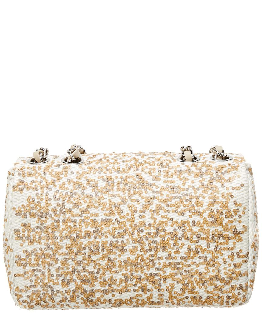694308f733c4 Lyst - Chanel White   Brown Sequin Small Flap Bag