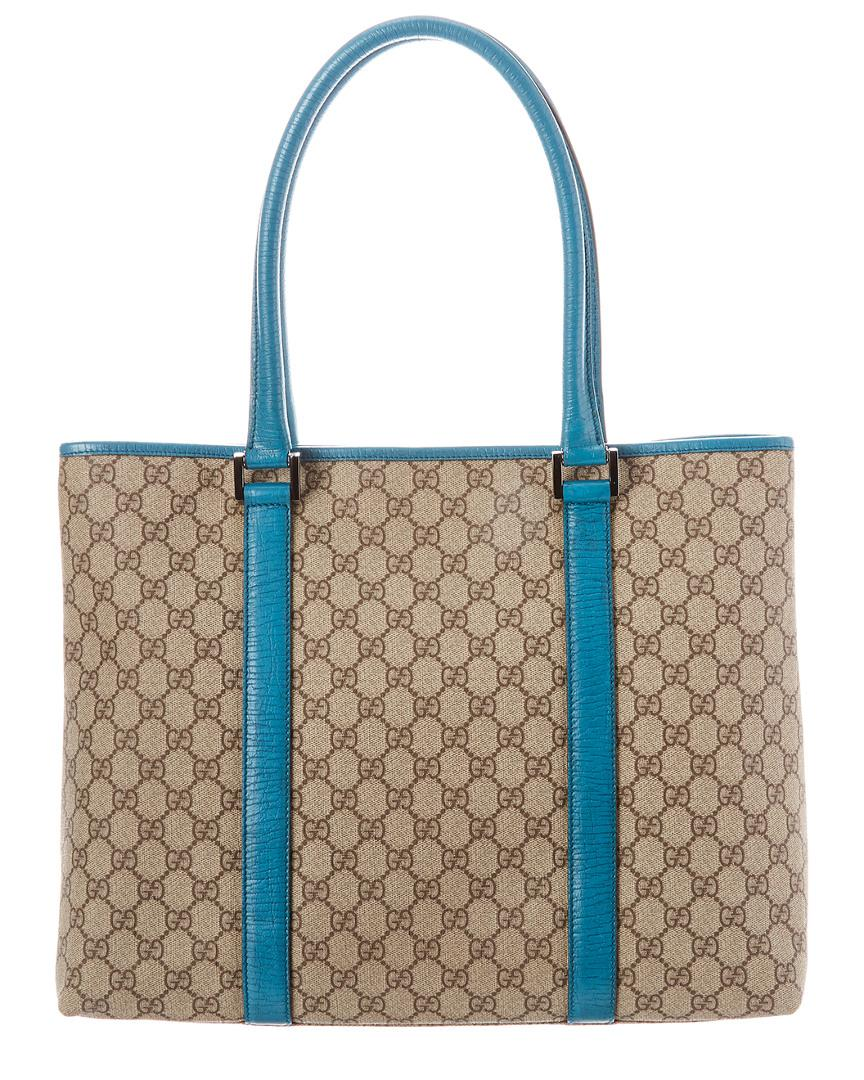d431b3cfb9f5 Gucci Brown GG Supreme Canvas & Turquoise Leather Tote in Blue - Lyst