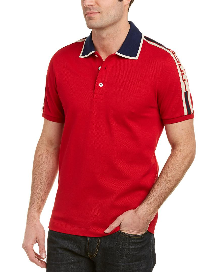 d9f9a4b77f6 Lyst - Gucci Stripe Cotton Polo Shirt in Red for Men