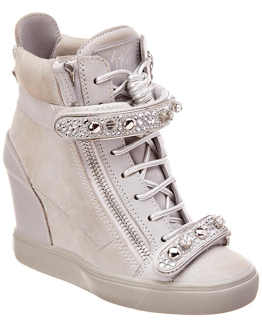 e01d17cb6b1 Lyst - Giuseppe Zanotti Leather   Suede Wedge Sneaker in Gray