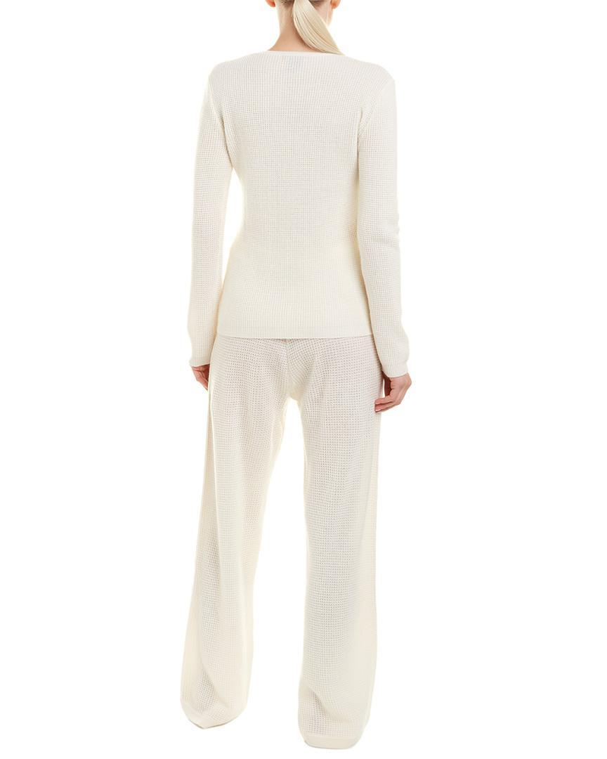 436da67345e9 Sofia Cashmere Sofiacashmere 2pc Thermal Lounge Cashmere Pajama Set in  White - Lyst