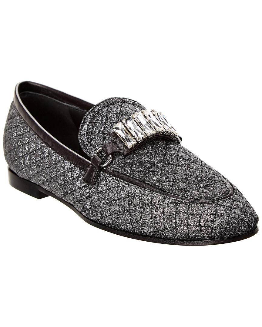 488e8442400 Lyst - Giuseppe Zanotti Letizia Glitter Leather Loafer in Gray ...