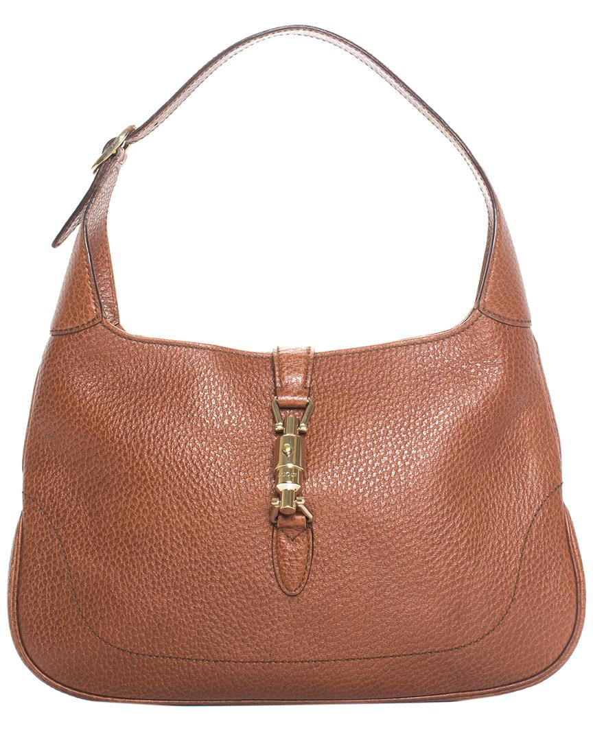 0128fbf2e9a Lyst - Gucci Brown Leather Jackie Shoulder Bag in Brown