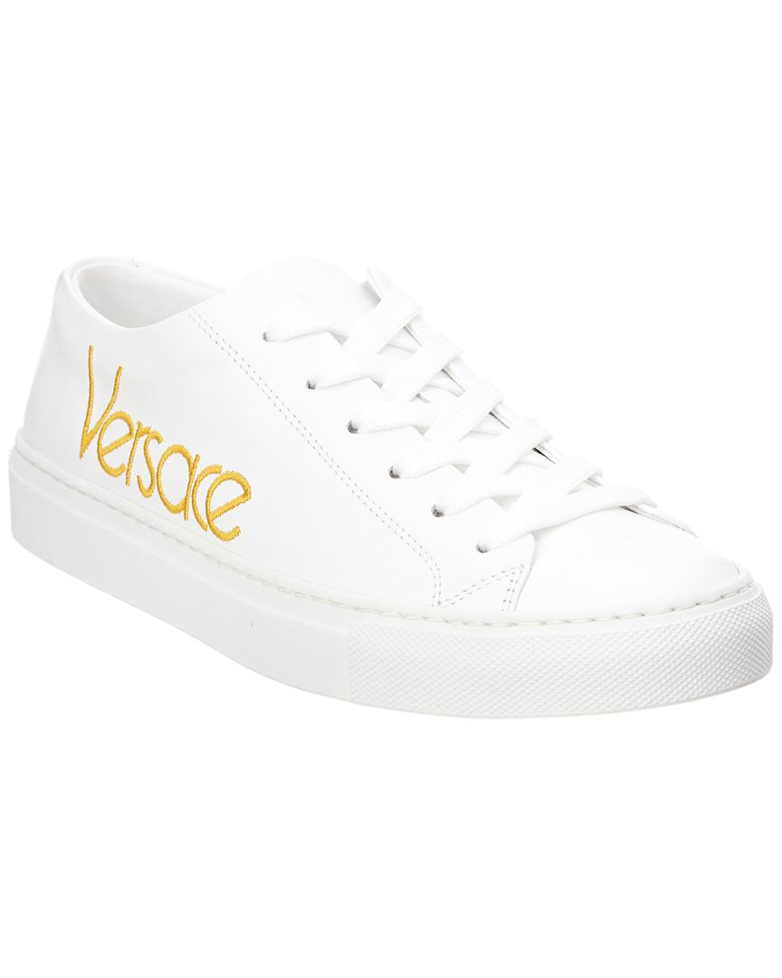 76771161bac Versace Vintage Logo Leather Sneaker in White - Lyst