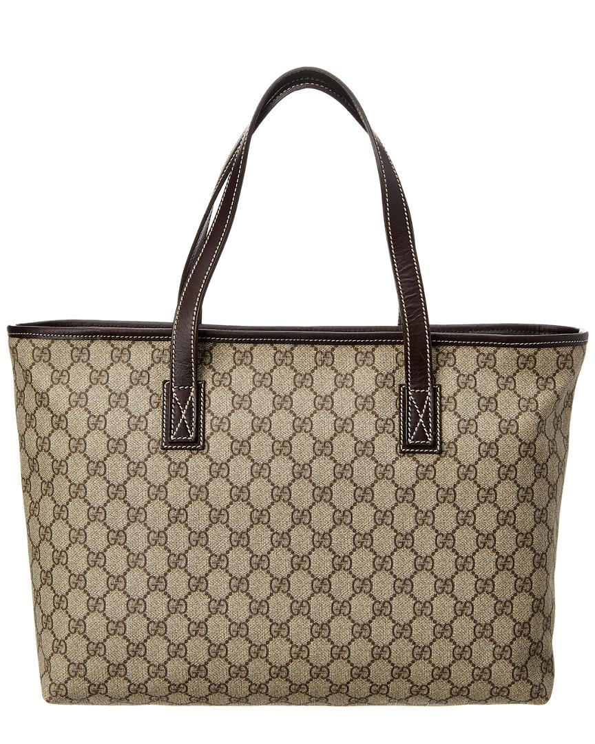 87ca0dab165f2 Gucci Brown GG Supreme Canvas   Leather Tote in Brown - Lyst