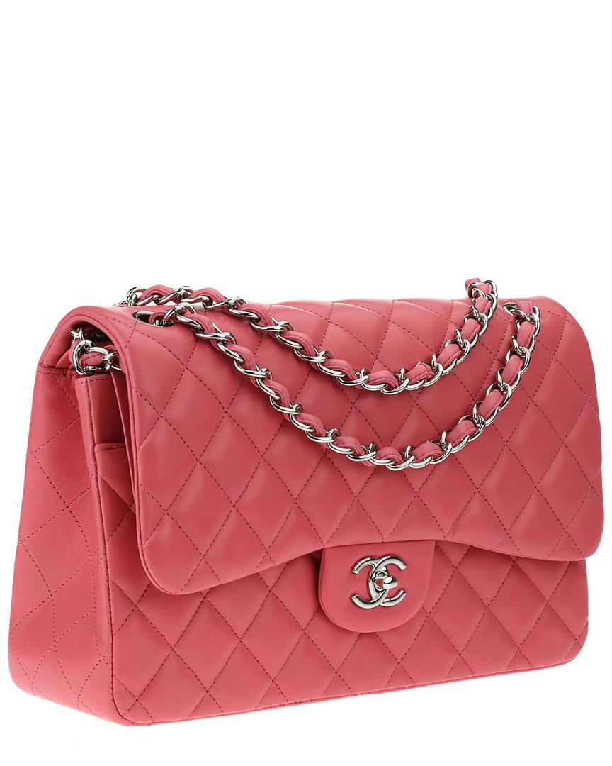 c3a6dc612 Chanel Pink Quilted Lambskin Leather Jumbo Double Flap Bag in Pink ...