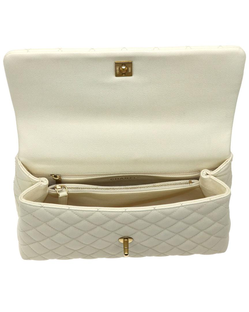 bcb2bd1d7097d0 Chanel Beige Quilted Caviar Leather Medium Coco Lizard Handle Bag in ...