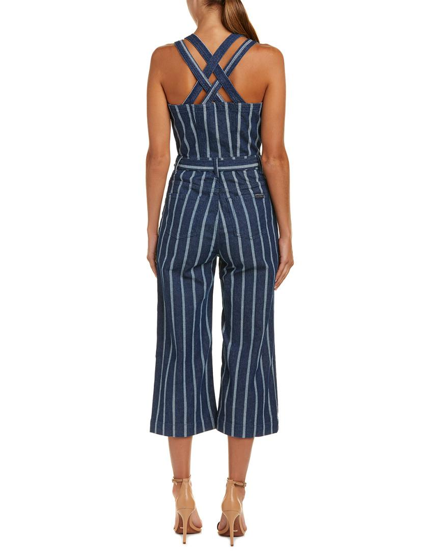 863ea2791bc Lyst - 7 For All Mankind 7 For All Mankind Button Front Jumpsuit in Blue