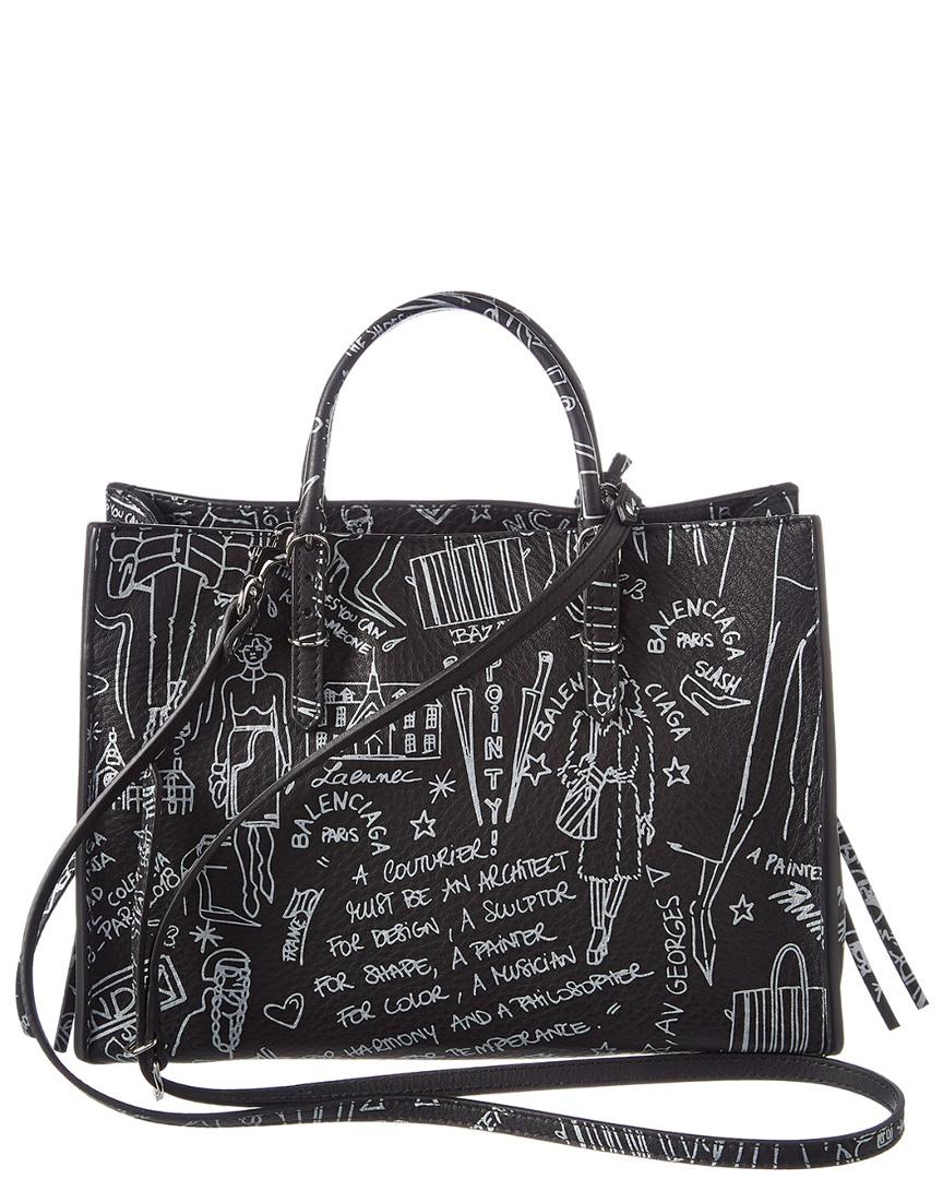 4b4550242de107 Balenciaga Papier A6 Graffiti Zip Around Leather Tote in Black - Lyst