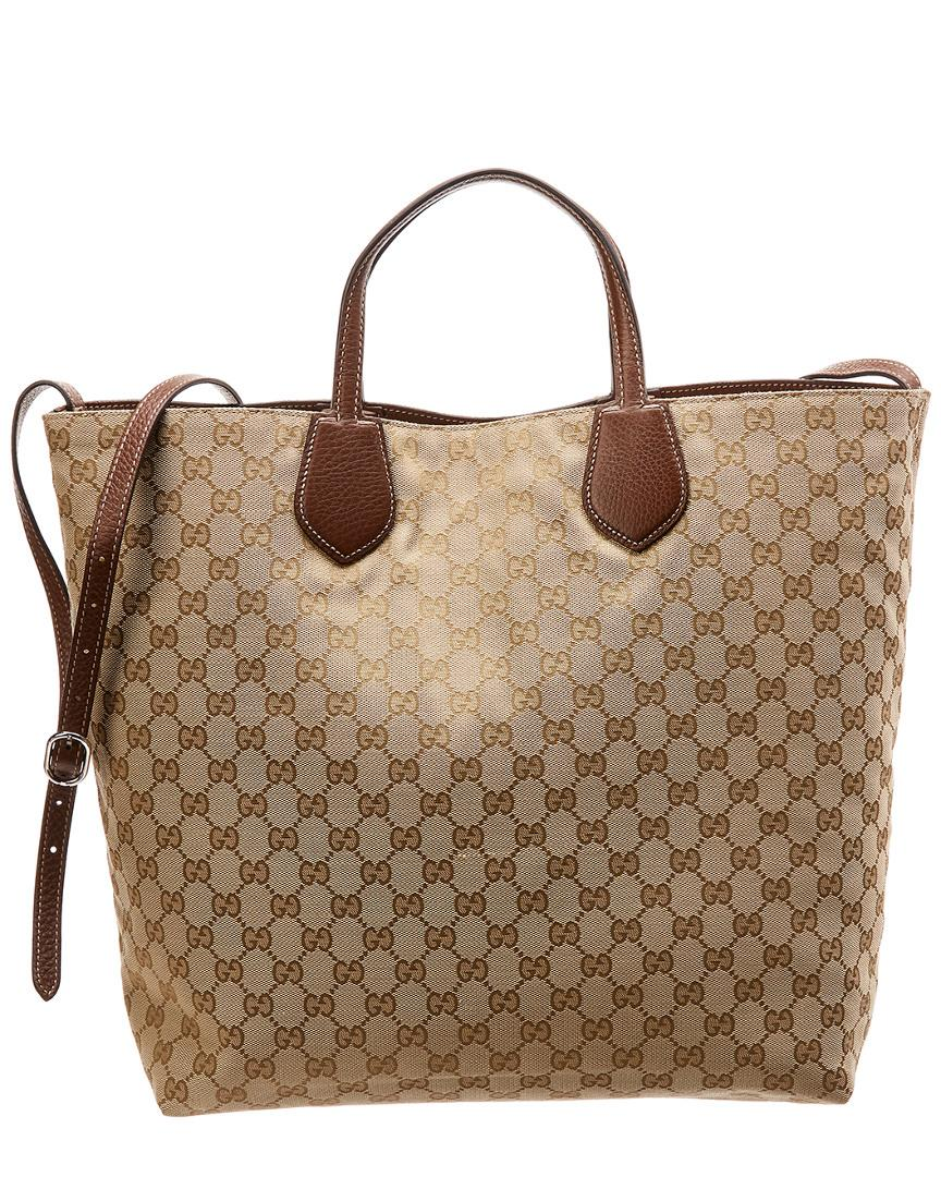 10349cc86e467f Lyst - Gucci Brown GG Canvas & Leather Reversible Tote in Brown