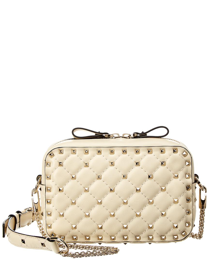 2badfa57bbc8 Valentino Rockstud Spike Leather Camera Bag in White - Lyst