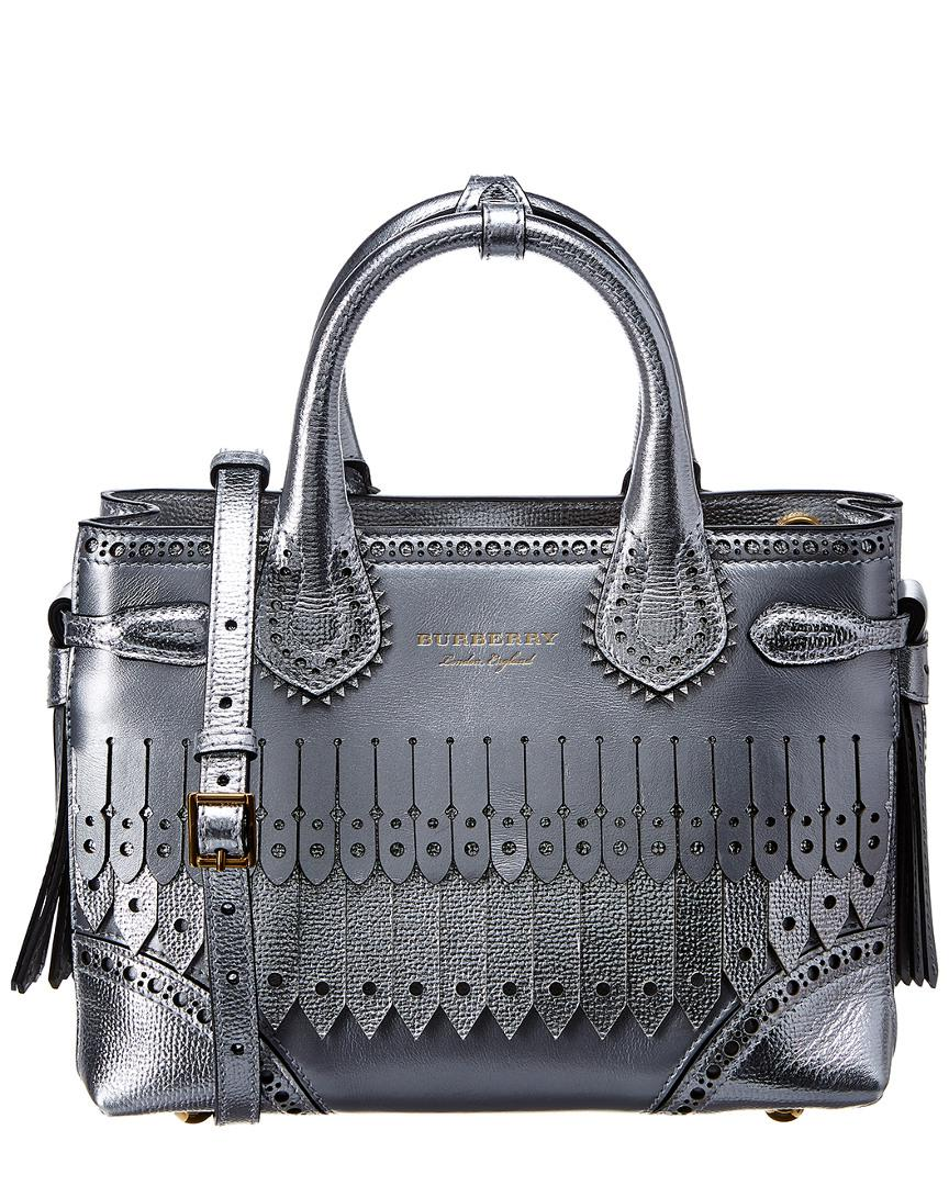 2db142c70fbd Lyst - Burberry Small Banner Brogue Detail Leather Tote in Metallic