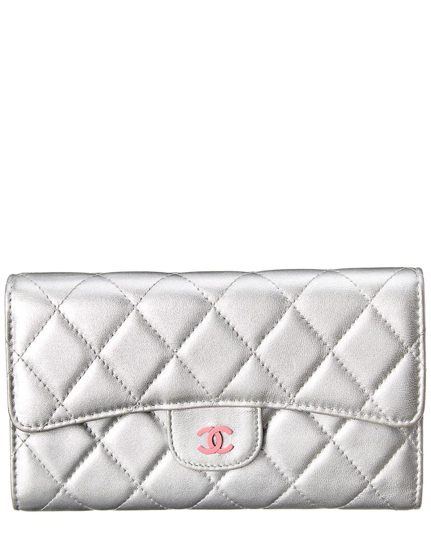 4e115282dac5 Lyst - Chanel Silver Quilted Lambskin Leather Flap Wallet in Metallic