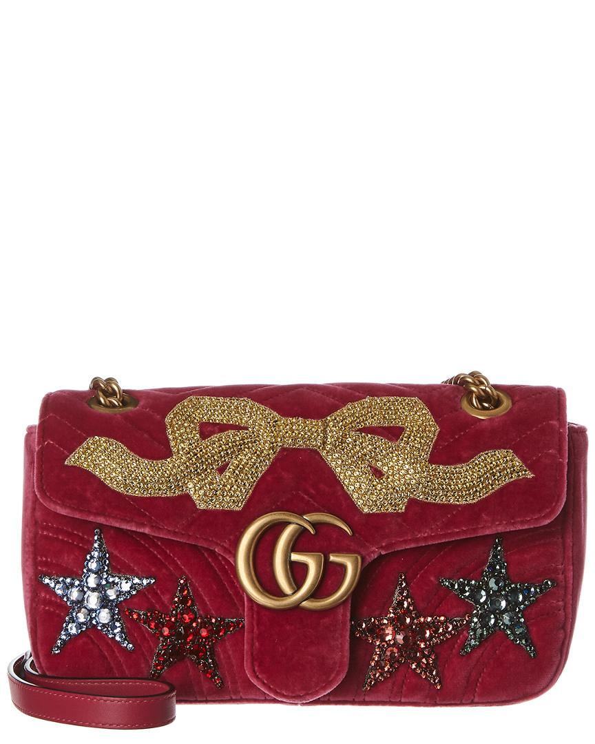 3eb3e6086c29 Lyst - Gucci Marmont Embroidered Velvet Shoulder Bag in Red