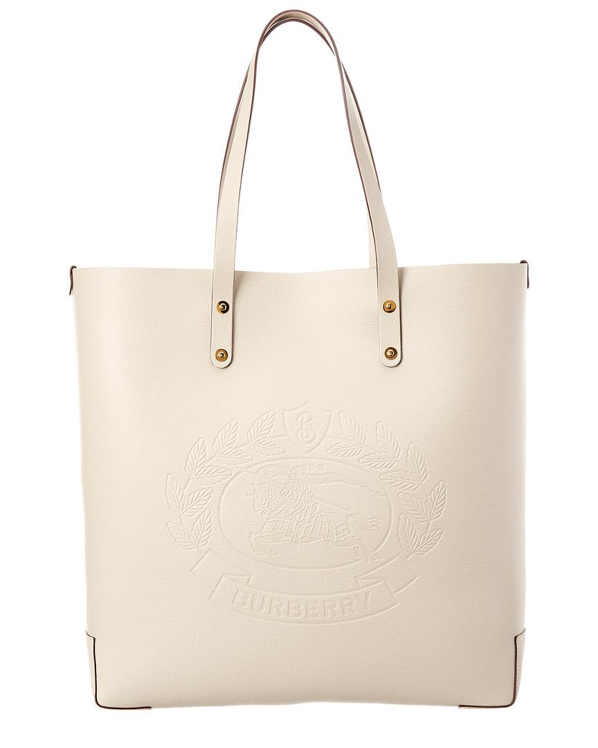 069d9153bc20 Burberry Embossed Crest Leather Tote in White - Lyst
