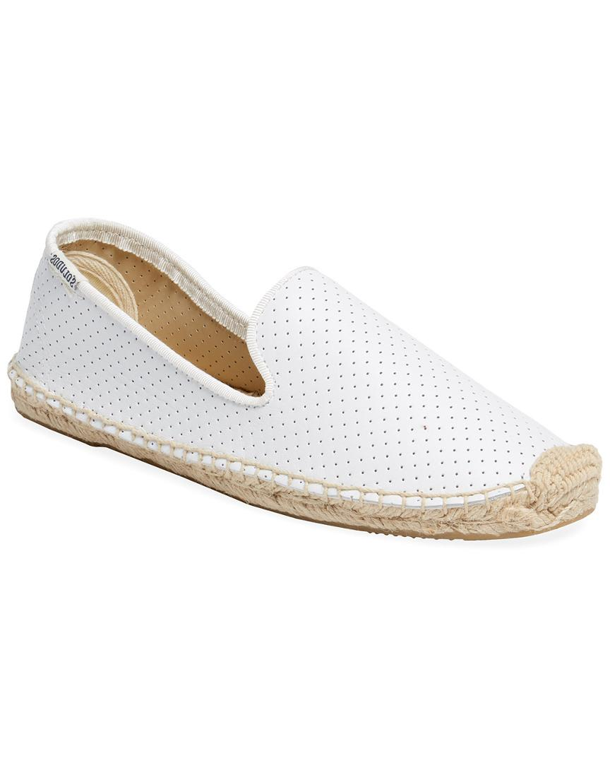 11d92f627 Lyst - Soludos Perforated Leather Espadrille in White