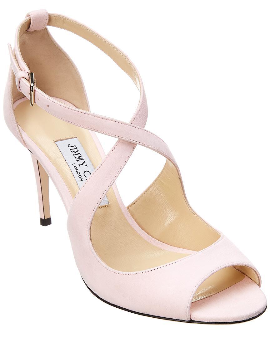 3ea2fc128523 Jimmy Choo Emily 85 Suede Sandal in Pink - Lyst
