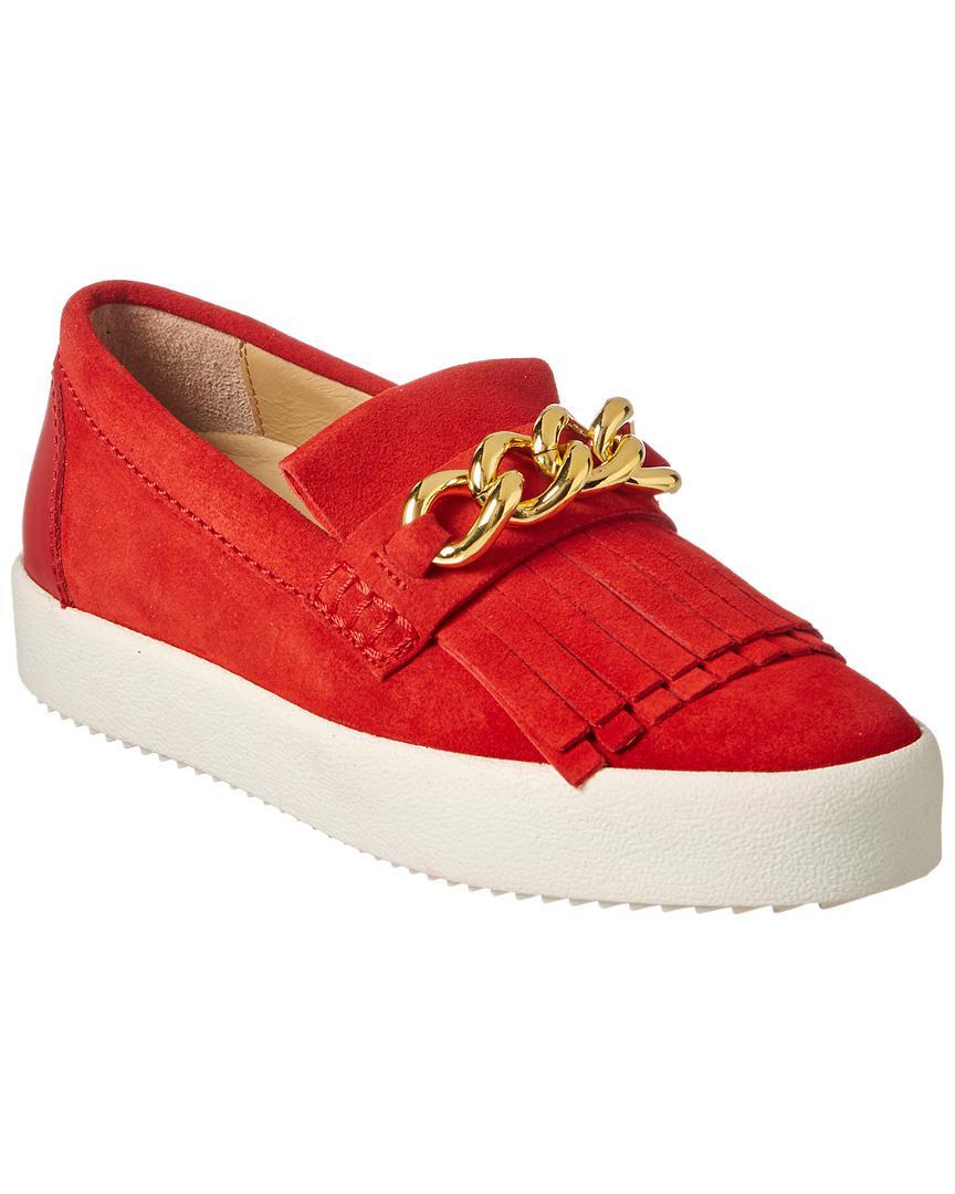 cf8d7911abd33 Lyst - Giuseppe Zanotti Fringe & Chain Suede Slip-on Sneaker in Red