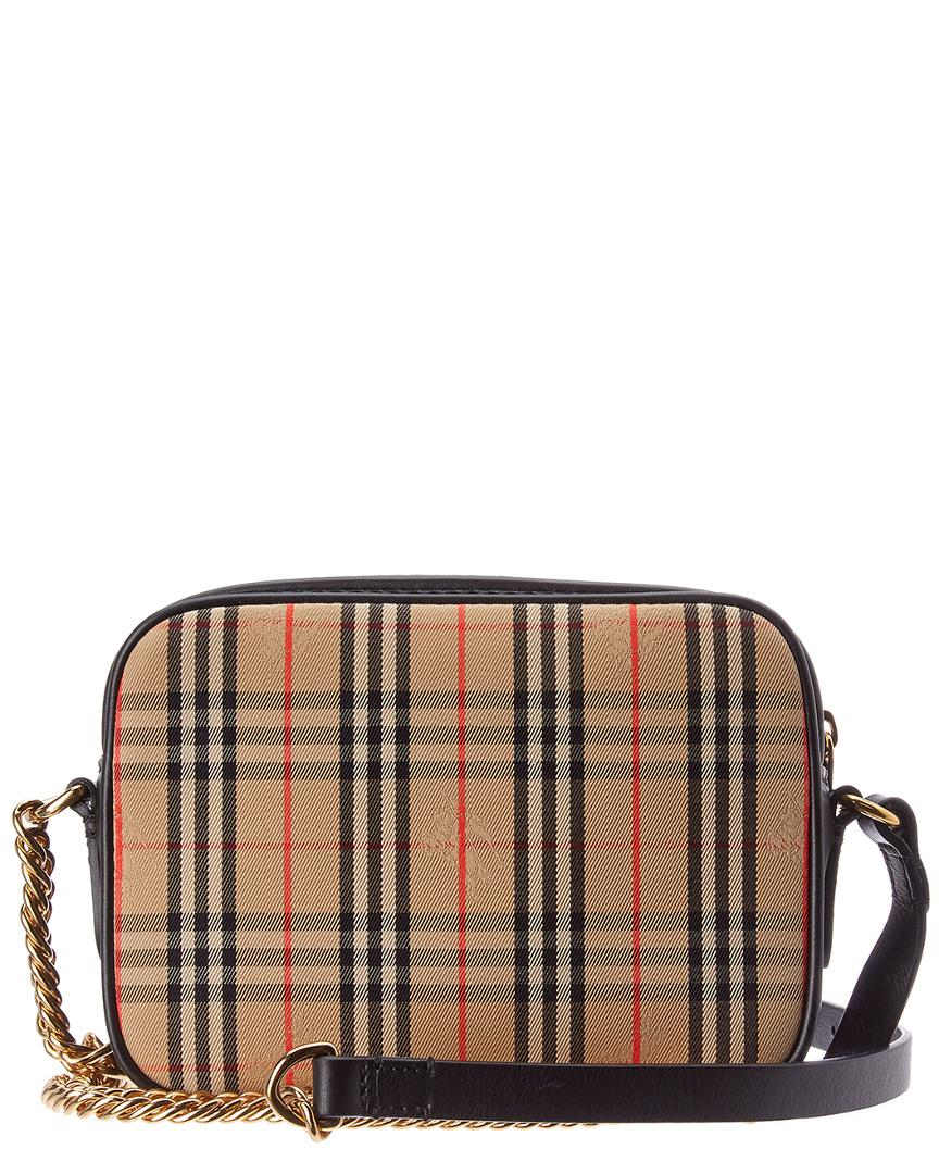 8e6976516449 Lyst - Burberry 1983 Check Link Canvas   Leather Camera Bag in Black