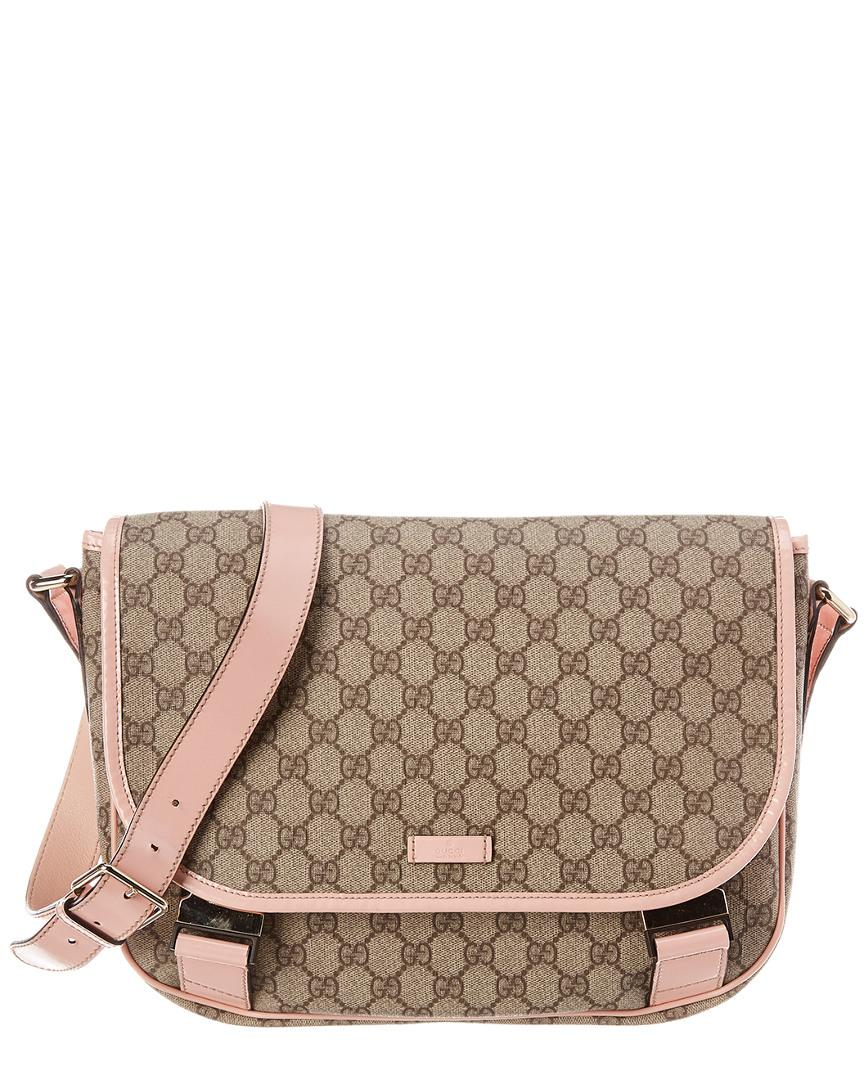 3aa30a79a2f Gucci. Women s Brown GG Supreme Canvas   Pink Patent Leather Messenger Bag