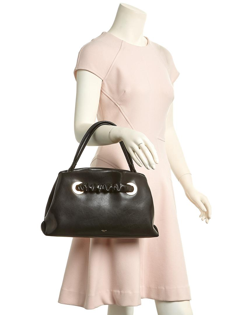 2071143230 Lyst - Céline Céline Small Eyelets Leather Shoulder Bag in Black