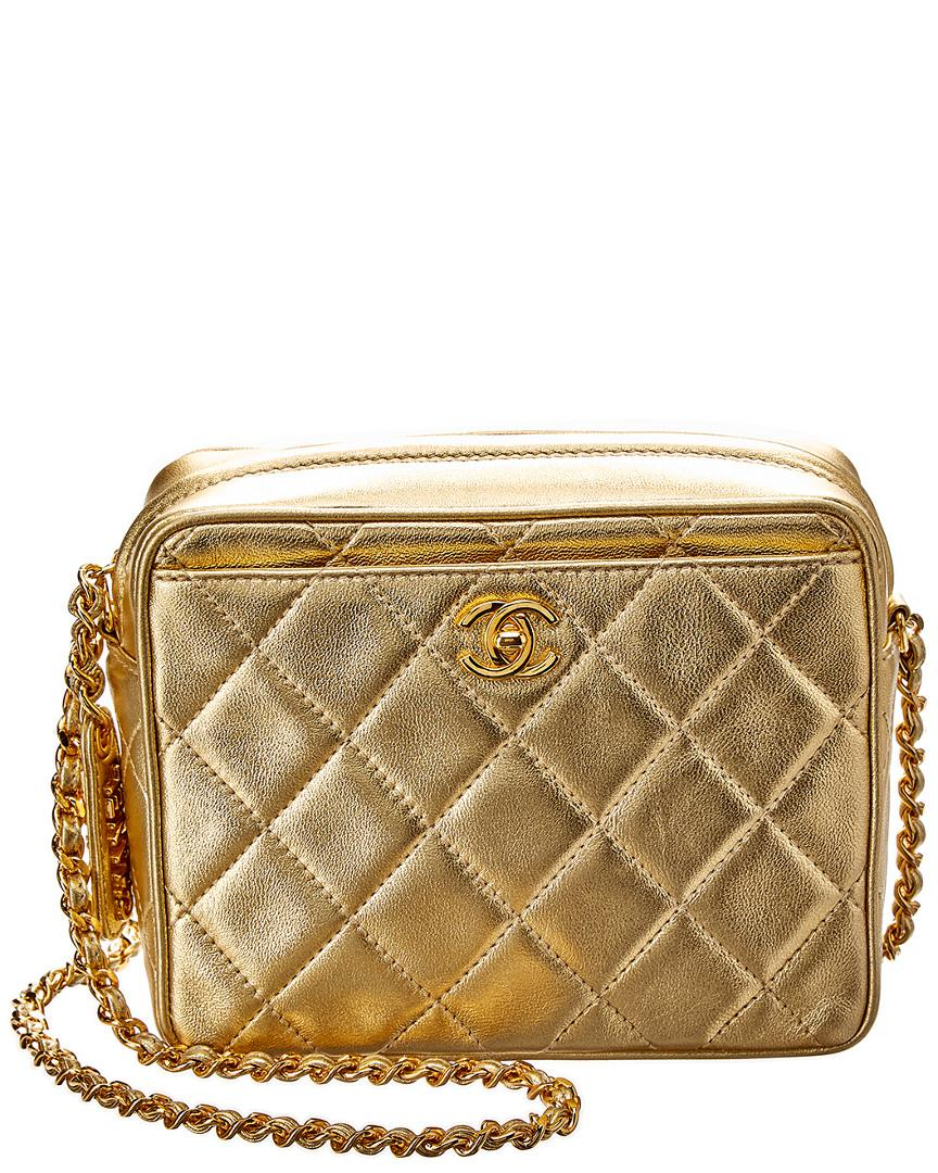 4a42ded8ca7689 Lyst - Chanel Limited Edition Gold Quilted Lambskin Leather Small ...