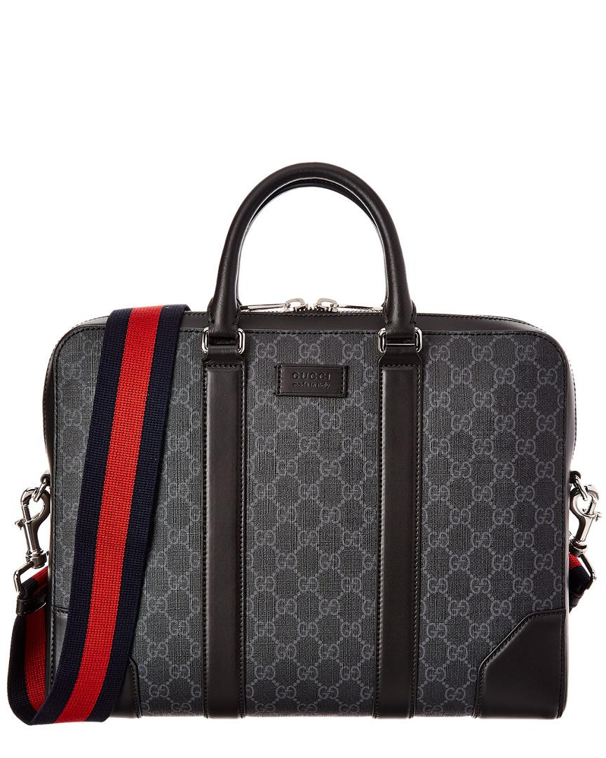 Gucci Black Canvas Soft Briefcase Travel Bag Overnight Bag