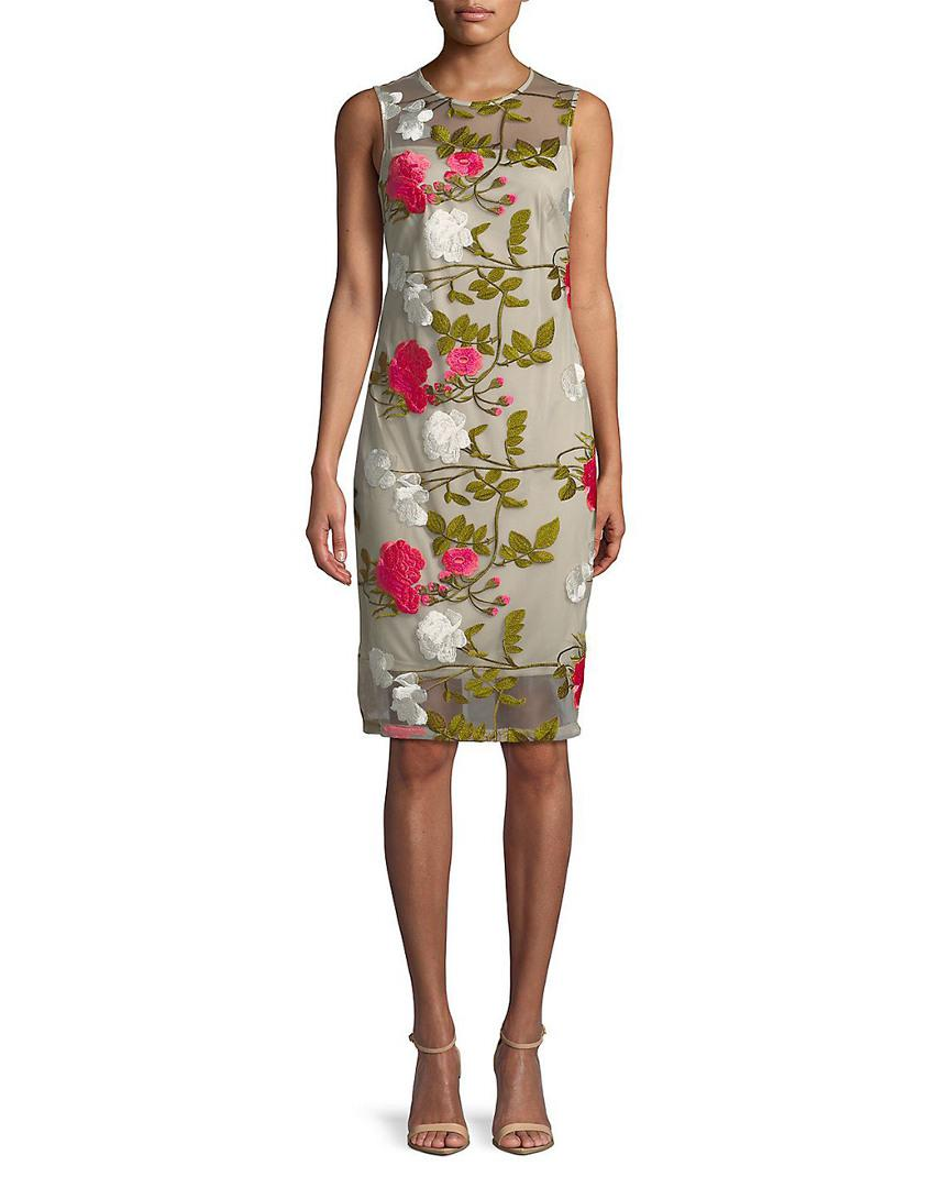 b0f67e30 Calvin Klein. Women's Knee-length Floral Embroidered Dress