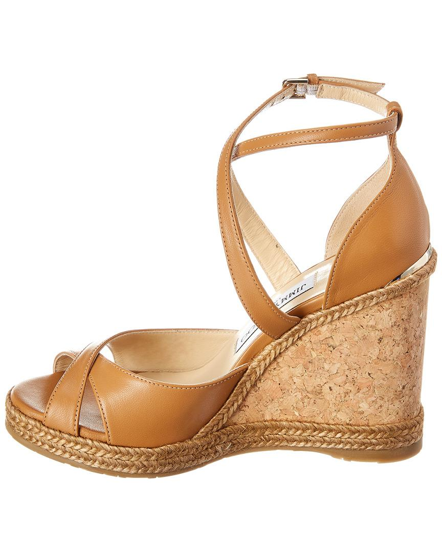 b5503425944 Lyst - Jimmy Choo Alanah 105 Leather Wedge Sandal in Brown