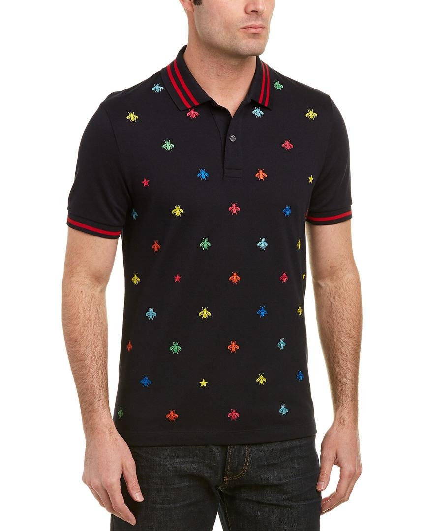 7cd4c9deb Gucci Bee & Star Polo Shirt in Blue for Men - Lyst