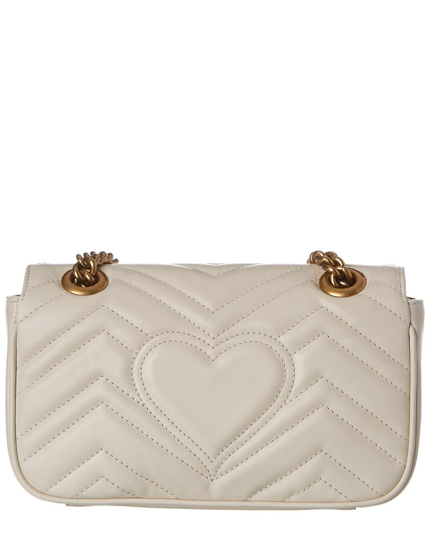 78d916482f7 Lyst - Gucci GG Marmont Mini Matelasse Leather Shoulder Bag in White