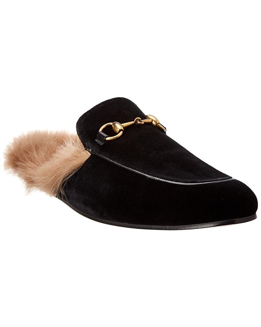 8db29b83b04 Lyst - Gucci Princetown Velvet Slipper in Black for Men - Save ...